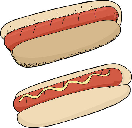 Super hot dogs on isolated background