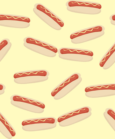 processed food: Seamless tiled background pattern of hot dogs