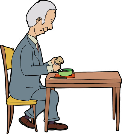 Elderly businessman sitting at table with food Illustration