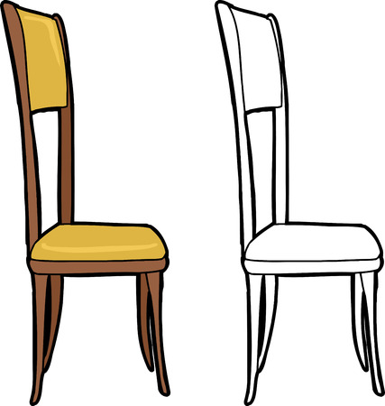 Single isolated dining chair on white background Çizim