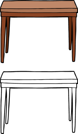 Single isolated wooden table on white background