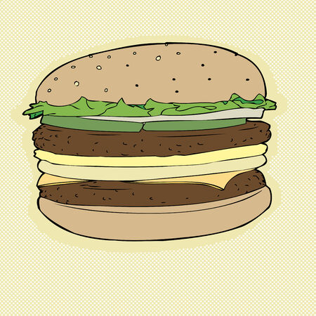 patties: Large hamburger with two patties and cheese Illustration
