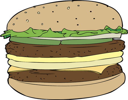 sesame seed bun: Isolated double cheeseburger on sesame seed bun Illustration