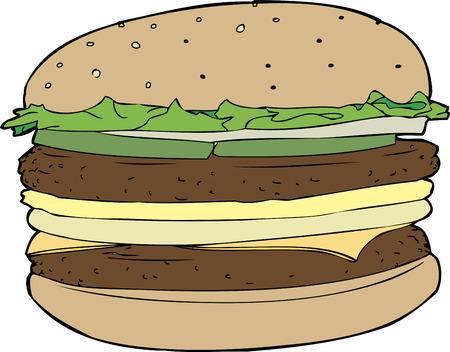 sesame: Isolated double cheeseburger on sesame seed bun Illustration