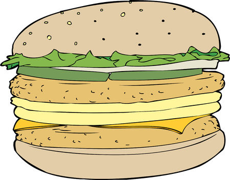 One isolated chicken patty and egg burger Vector