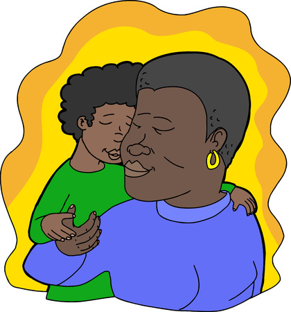 Illustration of loving child kissing smiling mother