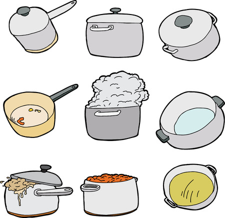 Series of kitchen pots over isolated white background