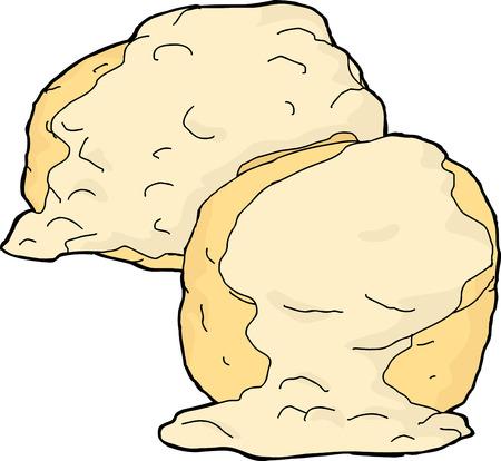 Dos galletas y salsa en el fondo blanco Vectores