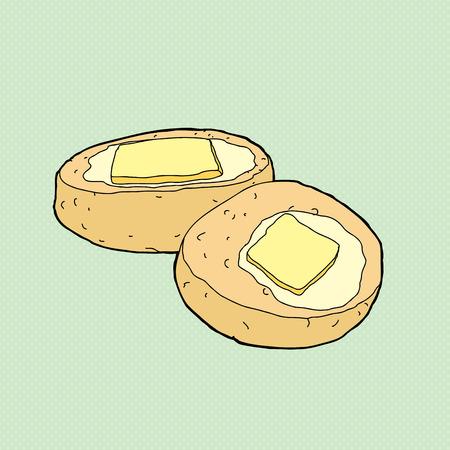 lard: Sliced biscuit with melted butter on green background Illustration