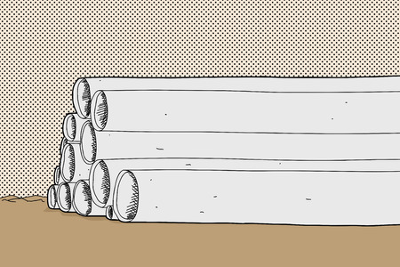 Cartoon with stack of pipes on desert ground Stock Illustratie