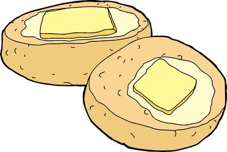 pan con mantequilla: Pan de ma�z aislada con la rebanada de mantequilla derretida Vectores