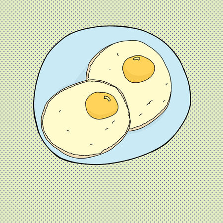 Two fried eggs on blue plate over halftone background Ilustracja