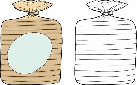sliced: El color y blanco aislado embalaje pan de molde Vectores