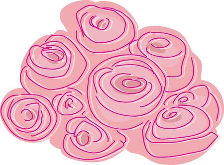 Doodle illustration of a bundle of pink roses
