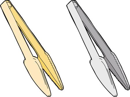 tongs: Pinza de acero inoxidable y de pl�stico en el fondo blanco