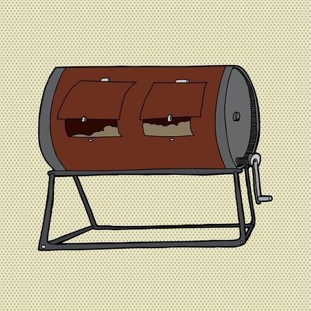 kompost: Einzel Kompost auf braunem Halbton Hintergrund