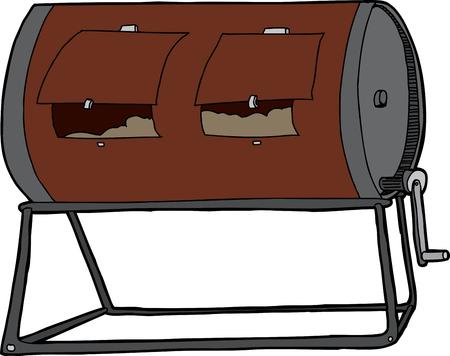 kompost: Isolierte Hand gezeichnet Kompost Tumbler auf wei�em Hintergrund