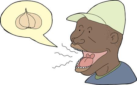 Man in hat with garlic breath on white background