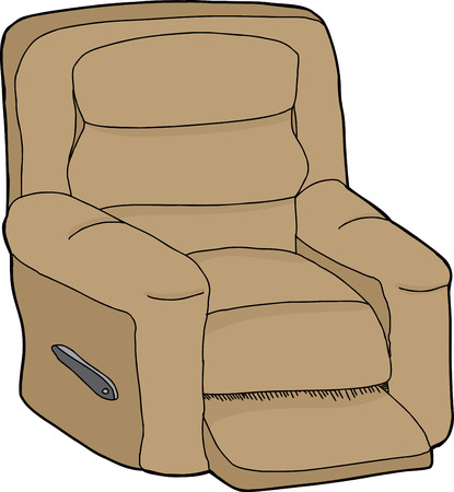 Single cartoon recliner chair on isolated white background Çizim