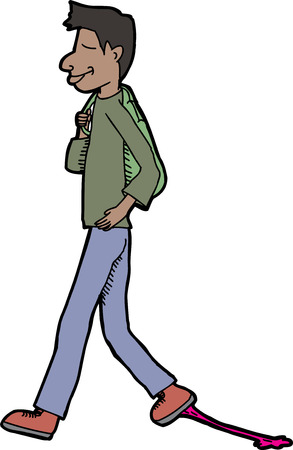 Smiling teenager walking with gum stuck to his shoe Vector