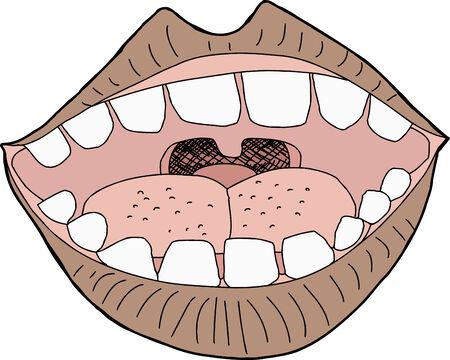 Één geïsoleerde open mond op een witte achtergrond