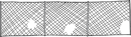 holes: Chain link fence with cut out holes on white background