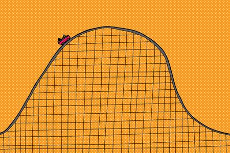 People on scary roller coaster ride on orange background Illustration