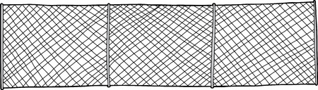 link fence: Hand drawn chain link fence background on white Illustration