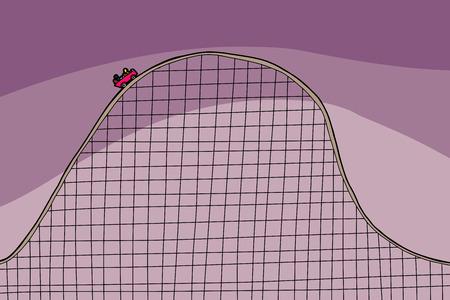 Simple cartoon rollercoaster ride over purple background Illustration