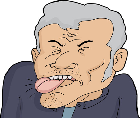 miserable: Cartoon of mature male biting his tongue