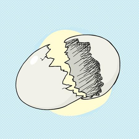 Cracking uovo vuoto su sfondo blu mezzitoni Archivio Fotografico - 28294057