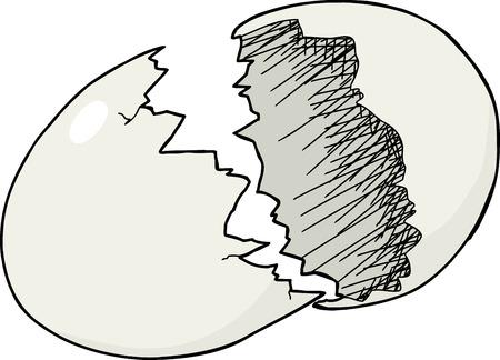 Singola isolato guscio d'uovo incrinato su sfondo bianco Archivio Fotografico - 28294059