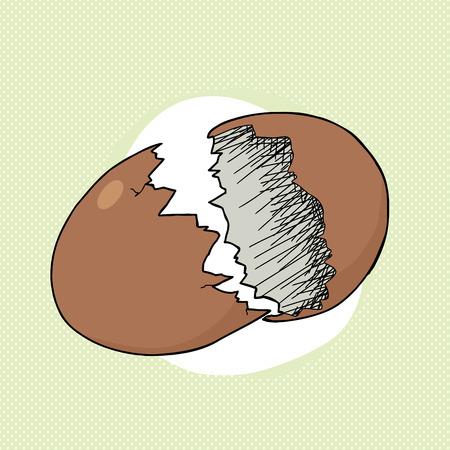Cracking uovo marrone su sfondo verde mezzitoni Archivio Fotografico - 28294064