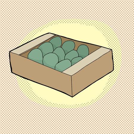 avocados: Box of avocados on yellow halftone background Illustration