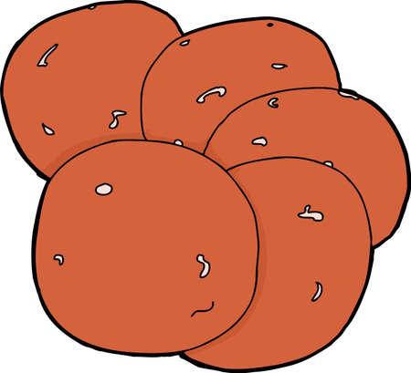 fiambres: Rodajas de pepperoni dispuestas en el fondo blanco aislado