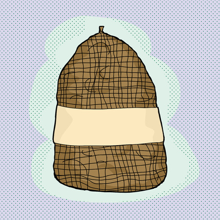 Sack of brown potatoes over halftone background Çizim
