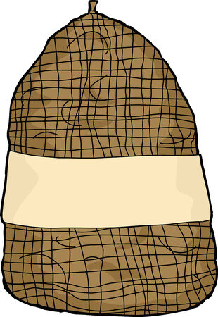 burlap bag: Isolated cartoon of potato sack with blank label