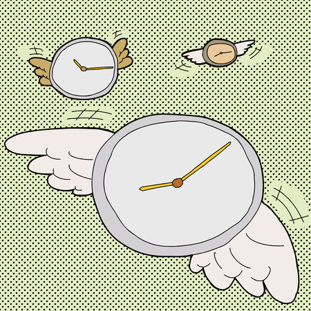 time flies: Clocks with wings in time flies cartoon Illustration