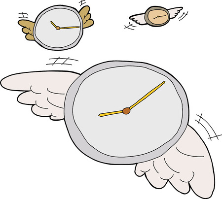 Three clocks with wings flying over white background 向量圖像