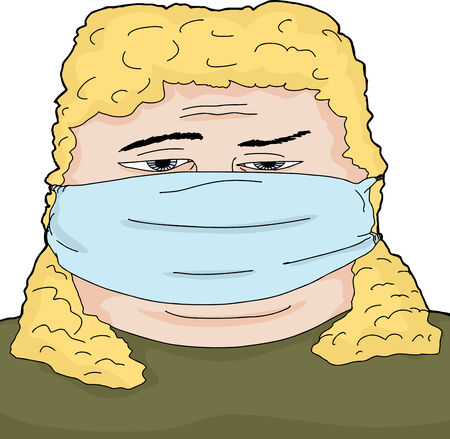 surgical mask: Single sick blond woman with surgical mask Illustration