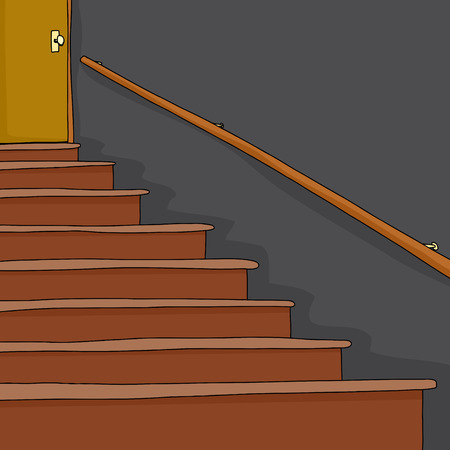 Empty staircase with railing and door cartoon