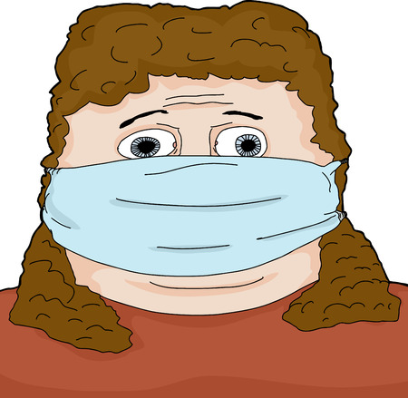 surgical mask: Frightened Caucasian woman with face mask on isolated  Illustration