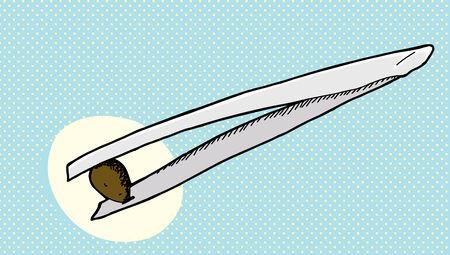 Pincet met kleine zaad op halftoon Stock Illustratie