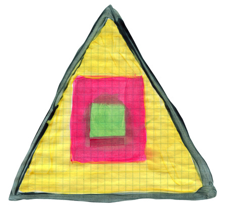 Circle and square inside triangle on graph paper