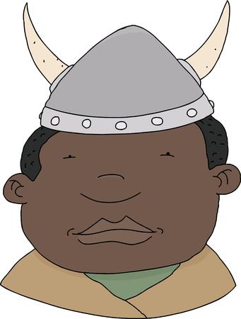 african ancestry: Viking of African ancestry with helmet cartoon