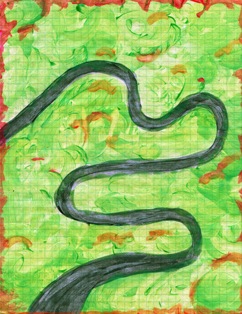 meandering: Abstract hand painted meandering river in jungle