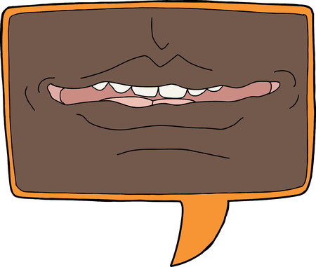 talkative: Close up of talking mouth in word bubble