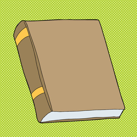 Blank closed hardcover book on green  Illustration