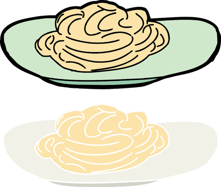 Plate of noodles or spaghetti on isolated background
