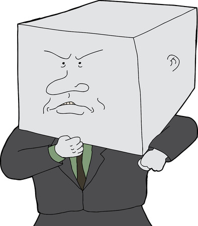 business person: Stubborn business person with block head cartoon Illustration